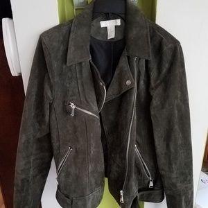 H&M suede moto jacket green